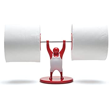 Mr. T Dual Toilet Paper Holder Dispenser, Free Standing Double Tissue Roll Storage, Tank Mount Caddy, Red, by Monkey Business