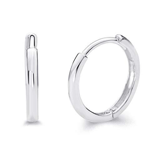 2mm Small Hoop Earrings - 14k REAL White Gold 2mm Thickness Hoop Huggie Earrings (13 x 13 mm)