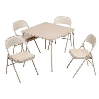 5 Piece 34″ Square Folding Table Set
