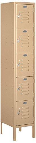 Salsbury Industries 65152TN-U Five Tier Box Style 12-Inch Wide 5-Feet High 12-Inch Deep Unassembled Standard Metal Locker, Tan Brown (Renewed)