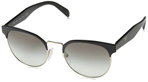Prada Unisex 0PR 61TS Sunglasses, Black/Pale Gold/Grey Gradient, 54mm (Prada 54mm)
