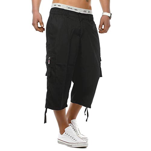 Sunyastor Men's Casual Cotton 3/4 Pants Elastic Waistband Shorts Loose Fit Knee-Length Outdoor Cargo Shorts with Pockets Black