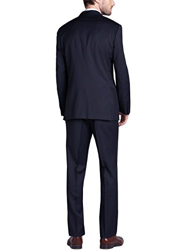 Gino Valentino Men's 2 Button Jacket Flat Front Pants Dk. Navy Suit