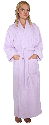 - Arus Women's Optimal Style Full Length Thick Shawl Collar Turkish Bathrobe Lilac P/S