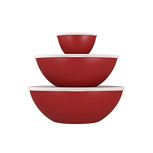 - Coza Stackable and Unbreakable Serving Bowl for Mixing, Serving, Salad or Dessert with Lid- Set of 6 (3 Bowls + 3 Lids) (Bold Red)