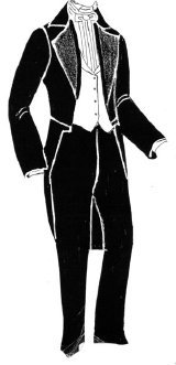 Victorian Men's Formal Wear, Wedding Tuxedo 1860s Mens Tailcoat Waistcoat & Trousers Pattern $25.95 AT vintagedancer.com
