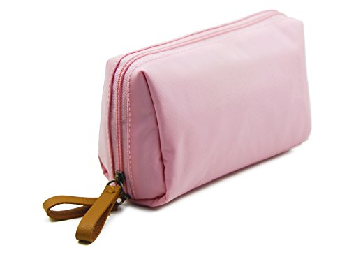 Admirable Idea Womens Travel Cosmetic Bags Small Essential Oil Carrying Bag Makeup Pouch for Ladies Girls -light pink ()