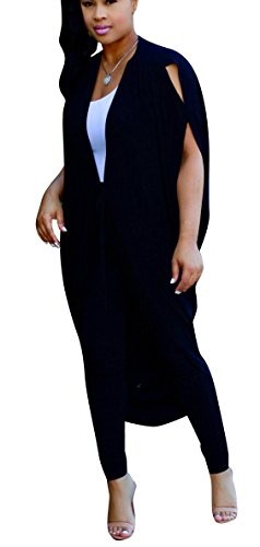 Womens 2 Piece Outfits Split Batwing Sleeves Loose Top with Pencil Pants Black S ()