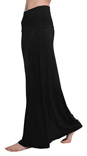- Urban CoCo Women's Stylish Spandex Comfy Fold-Over Flare Long Maxi Skirt (S, Black)