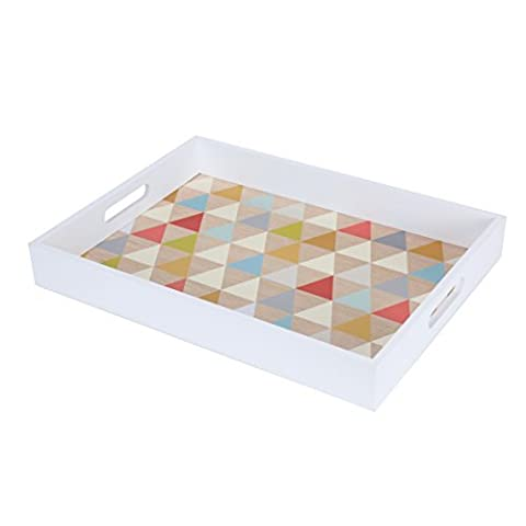 Blu Monaco Wood Serving Tray with Carrying Handles –White Border, Fun Multi Colorful, Triangle – Ample Organization and Great Style – Whimsical, Modern Design for the (Nice Shot Snoopy)