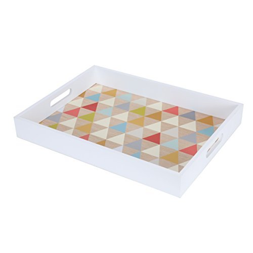 Blu Monaco Wood Serving Tray with Carrying Handles -White Border, Fun Multi Colorful, Triangle - Ample Organization and Great Style - Whimsical, Modern Design for the Home