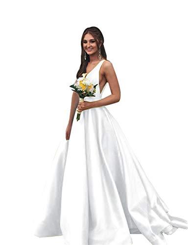 (Rjer Women Long Double V Neck Sleeveless Prom Dress 2019 Satin Ball)
