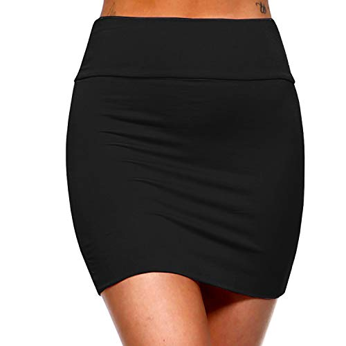 Fashionazzle Women's Casual Rayon Stretchy Bodycon Pencil Mini Skirt (Medium, KS01-Black)