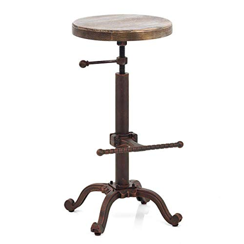 (Topower Industrial Retro Vintage Farm Wooden Tractor Stool Kitchen Swivel Height Adjustable bar Stool)