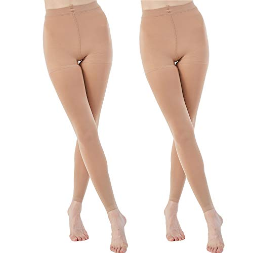(MANZI 2 Pairs Run Resistant Control Top Panty Hose Opaque Footless Tights(Small, Suntan))