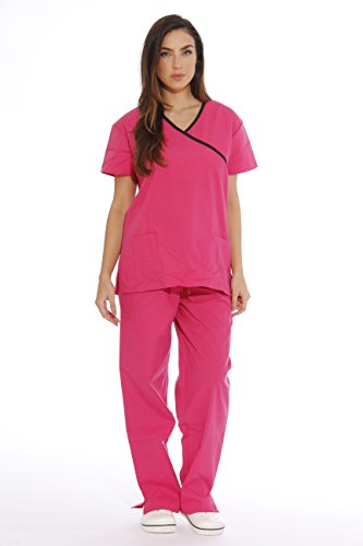 Just Love Women's Scrub Sets/5 Pocket Medical Scrubs Uniforms (Mock Wrap), Primrose With Black Trim, Small