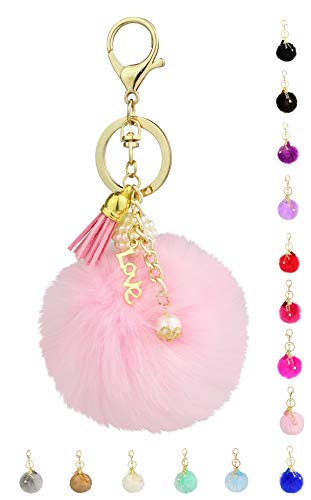 Key Chain Accessories for Women - Pink Faux Fur Ball Charm and Artificial Pearl with Key Ring (Pink Key Charm)