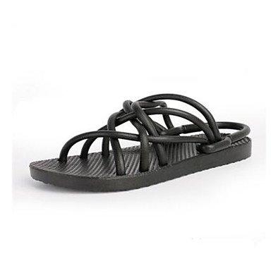 Los hombres sandalias confort par zapatos casual de resorte de goma de microfibra gris plana en blanco y negro,negro Black