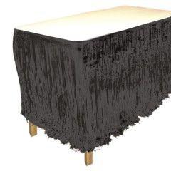 Black Metallic Fringed Table Skirt -