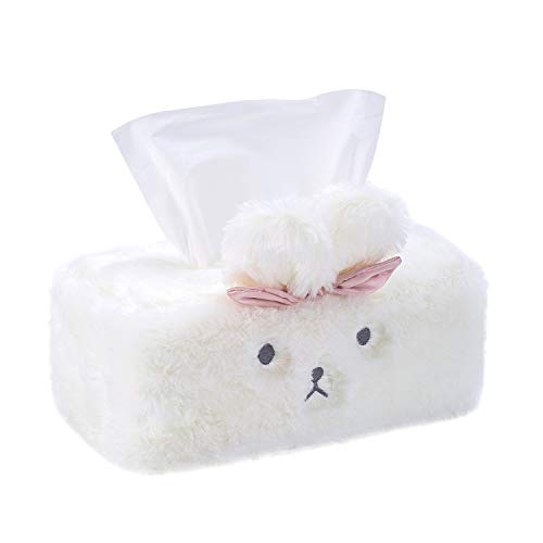 SQUISHY DOT Cute Tissue Box Cover, Tissue Holder Decorative, Fluffy Plush Cover, Office Desk, Bedroom/ Living Room and car Accessories, Bunny Rabbit Tissue Box Cover, Kawaii Desk Accessories