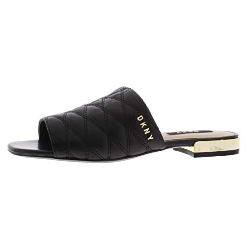 DKNY Womens Roy Leather Quilted Flat Sandals Black 6.5 Medium -