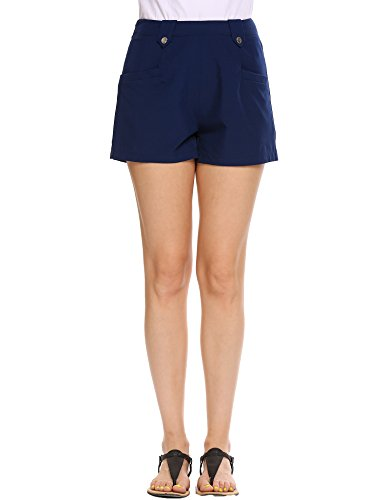 Juniors Nautical Curvy Twill Shorts Cotton Spandex Cuffed Perfect Chino Short blue medium