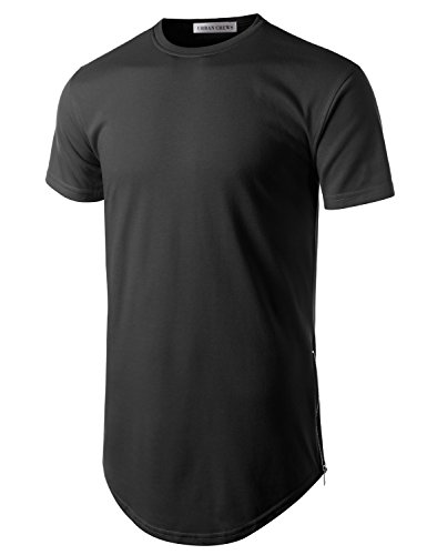URBANCREWS Mens Hipster Hip Hop Basic Longline Crewneck T-Shirt Black (Mens Basic Crewneck T-shirt)