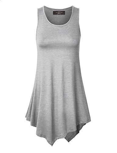 Made By Johnny WT671 Womens Handkerchief Hem Tank Tunic Top L Heather_Gray