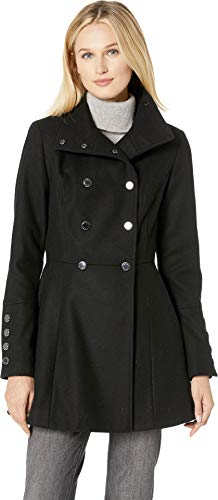 (Calvin Klein Women's Double Breasted Military Style Wool Cotton with Large Gold Button Detail Black 8)