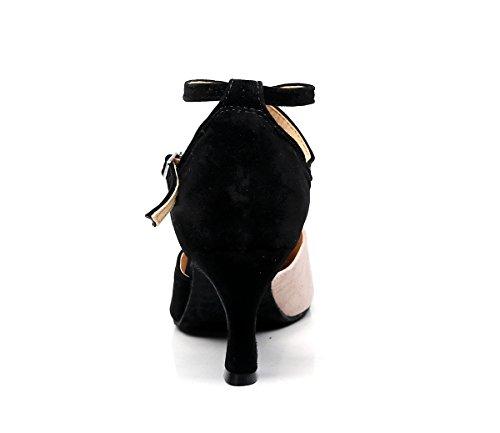 Minishion Tj7136 Womens Girls Cinturino Alla Caviglia Suede Scarpe Da Ballo Latino Scarpe Da Festa Formale Nude-7.5cm Tacco