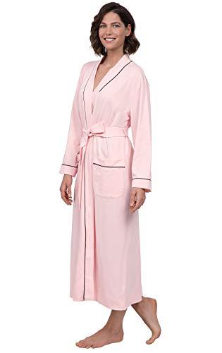 PajamaGram Ladies Bathrobe Soft Knit - Long Bathrobe Womens, Pink, 3X, - Jersey Robe Cotton