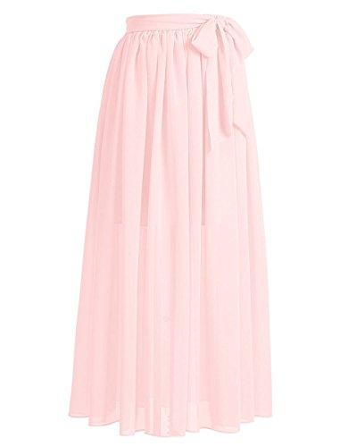 JudyBridal Women´s Long Chiffon Vintage Beach Summer Skirts with Bow (Sheer Vintage Skirt)