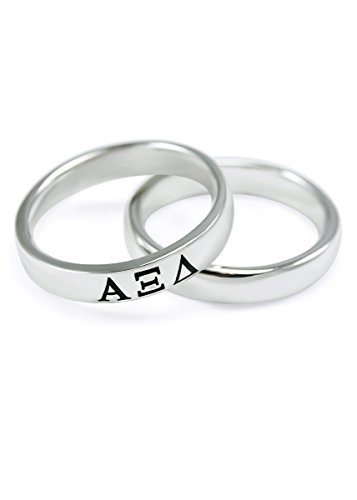 Alpha Xi Delta Merchandise - The Collegiate Standard Alpha Xi Delta Sterling Silver Skinny Band Ring (7.0)