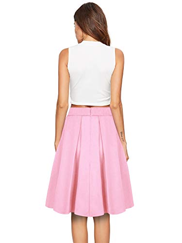 Svasata Gonna Pattinatrice da Beluring Colore Gonna Solida Moda Midi Donna Versatile Rosa qyfcEv7