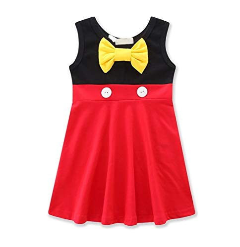 Joy Join Cute Little Girls Cartoon Fancy Birthday Party Tutu Dress up Gown(2T 3T) Red-Black]()