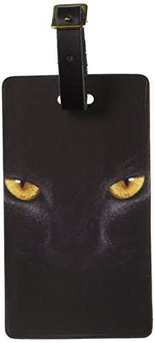 Graphics & More Black Domestic Cat Gold Eyes Luggage Tags Suitcase Carry-on Id, White