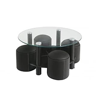 TABLE BASSE AVEC 4 POUFS ENCASTRABLES MIAMI NOIRE: Amazon.fr ...