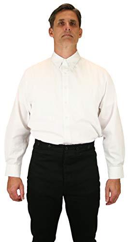 Historical Emporium Men's Victorian Spear Point Collar Dress Shirt L White (Spear Point Collar)