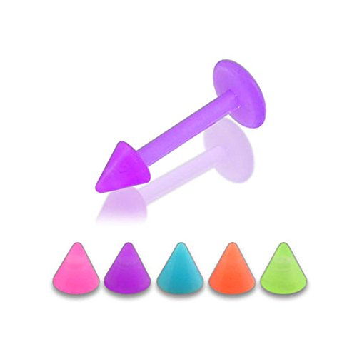 16Gx1/4 (1.2x6MM) Bioflex Lip Labret with 3MM UV Solid Colored Cone Piercing jewelry - 10 Pieces Assorted Color as Show