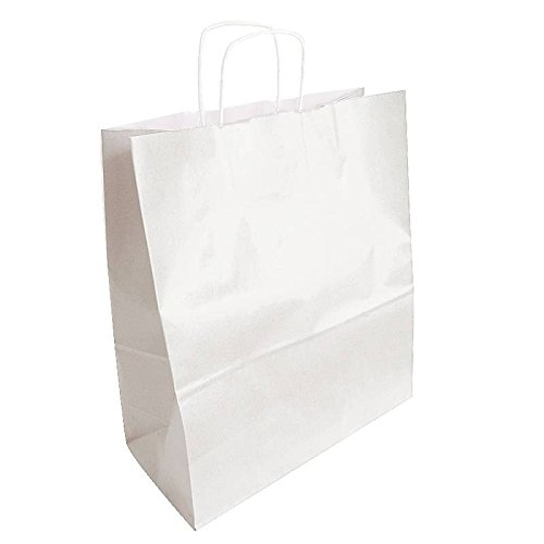 50 bolsas de papel Kraft color blanco 35 x 16 x 40 cm - 6299 ...