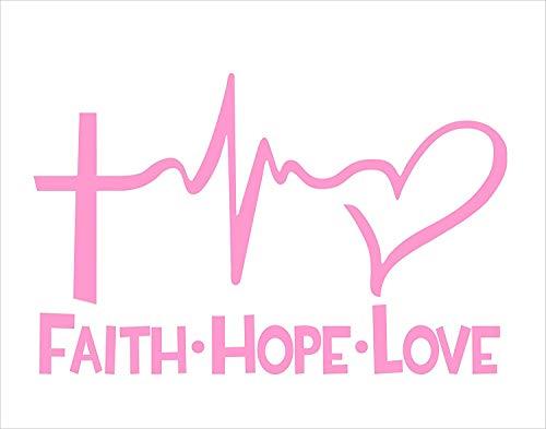 Faith Hope Love PINK (6″ x 4″) Die Cut Decal Bumper Sticker For Windows, Cars, Trucks, Etc.