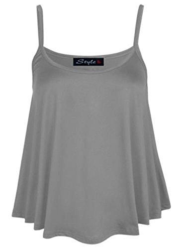 Chaleco liso de cintura acampanada para mujer, talla grande 36-54 gris claro