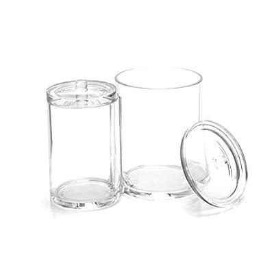 Makeup Organizer, Frcolor Transparent Cotton Ball and Swab Dispenser Acrylic Round Container Cotton Pads Holder Swab Jar Makeup Organizer