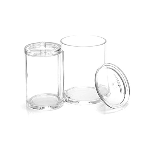 Makeup Organizer, Frcolor Transparent Cotton Ball and Swab Dispenser Acrylic Round Container Cotton Pads Holder Swab Jar Makeup Organizer by Frcolor