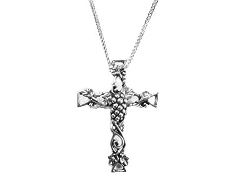 Symbology Silver Plated Grapevine Cross Necklace