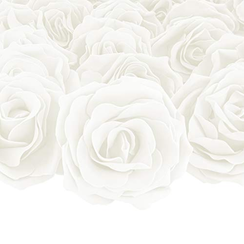 Bright Creations 30-Pack White Rose Flower Heads for DIY Crafts, Weddings, Decor, 4 x 2 -