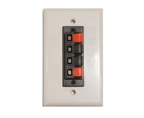 Speaker Terminal Wall Plate 4 Spring Clip for Stereo Home Theater Sound System by Keen Eye