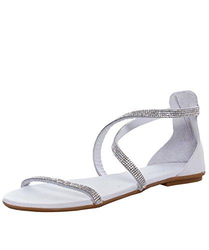 Inuovo Mujeres Diamante Cruz Sandalias De Tobillo Blanco Blanco