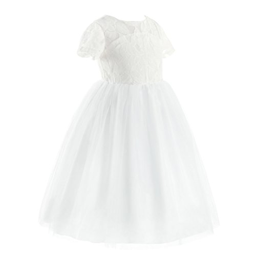 ranrann Flower Girls Short Sleeves Cutout Back Lace Dress Bridesmaid Wedding Pageant Formal Event Tea Length Gown Ivory&White 4 ()