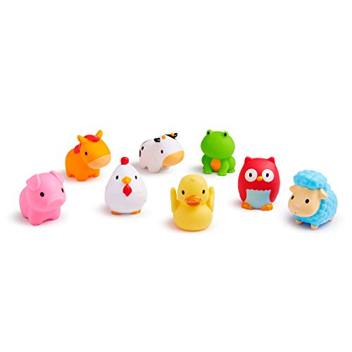 Munchkin Squirtin Bath Toy, Barnyard Friends (Baby Tub Owl)